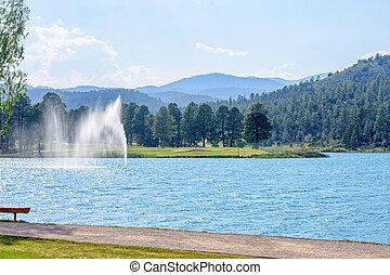 Water fountain in park of Ruidoso
