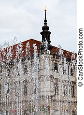 water fountain on Freedom square in Brno - travel to Brno...