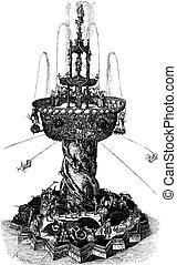 Water Fountain, vintage engraving