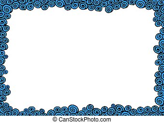 Water frame - Illustrated frame made of black and blue water...