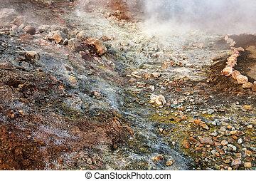 water from geyser in Landmannalaugar in Iceland