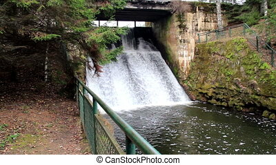Water from the dam is flowing
