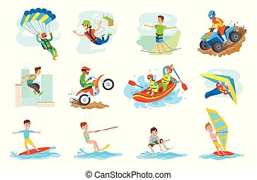 Water Fun and Extreme Sports Set of People Hobby