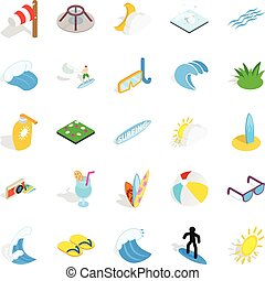 Water fun icons set, isometric style