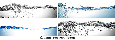 water, gespetter, collage, in, witte achtergrond