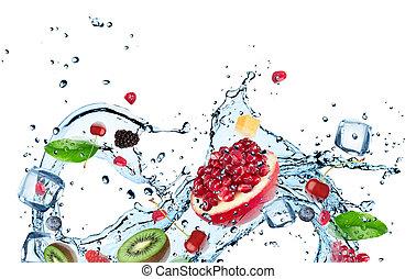 water, gespetter, fruit