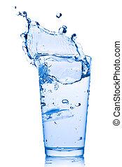 water, gespetter, in, glas
