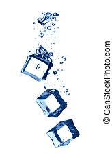 water, gespetter, koude, kubus, ijs