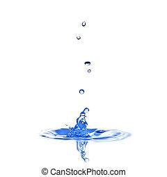 water, gespetter, met, druppels, vrijstaand, op wit