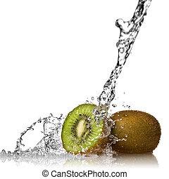 water, gespetter, op, kiwi, vrijstaand, op wit