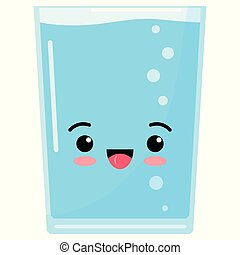 Water glass cute kawaii emoji character icon in cartoon style isolated on white background.