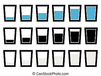 Water glass symbols, pictograms - Empty, half, full glass of...