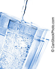 Water - Glasses with spring water against a white background