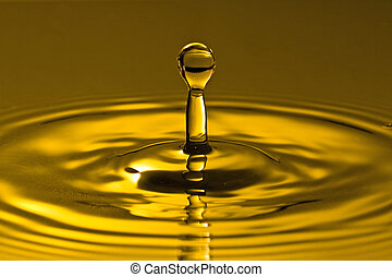 water, gouden, gespetter