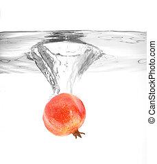 water, granaatappel, het vallen, rijp