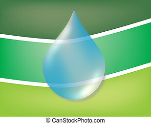 A digital vector illustration showing a drop of water in front of a green flag or background. Perfect for conservation web sites, power point presentations, video production, brochures, logos, etc. This is a scalable EPS file created in Adobe Illustrator.
