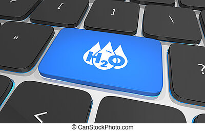 Water H20 Drinkable Clean Resource Keyboard Button Key 3d Illustration