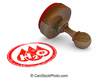 Water H20 Drinkable Clean Resource Stamp Official Approved 3d Illustration