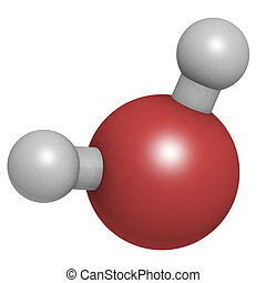 Water (H2O), molecular model. Atoms are represented as ...