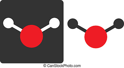 Water (H2O) molecule, flat icon style. Atoms shown as color-coded circles (oxygen - red, hydrogen - white/grey).