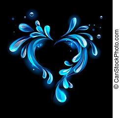 Water heart - the heart of the sparkling drops of water on...