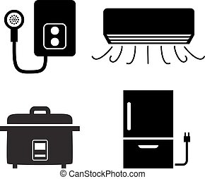 Water heater, air conditioner, rice cooker icons