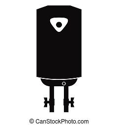 Water heater or boiler black simple icon on a white...