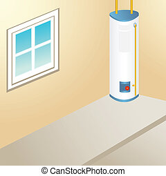 water heater room inside of a garage area.