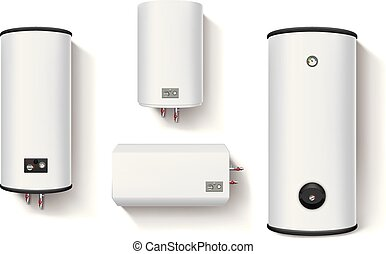 illustration of set different water heaters with shadows on white background