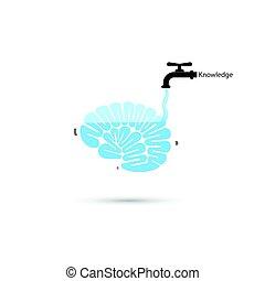 water, hersenen, denken, symbool, proces, kraan, snel, kennis, concept., pictogram, hersenen, vector, illustration., vullen, leren