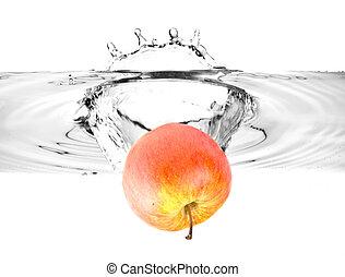 water, het vallen, appel, rood