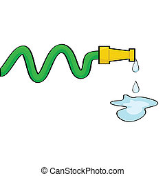 Water hose - Cartoon illustration of a hose dripping some...