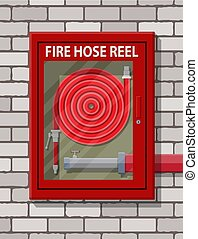 Water hose to extinguish the fire in cabinet