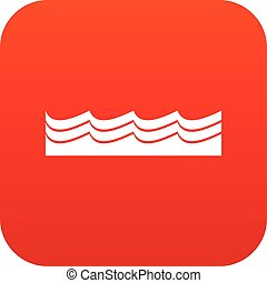 Water icon digital red