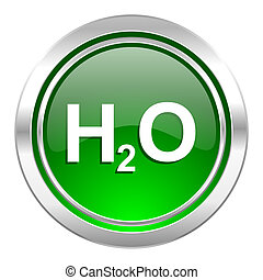 water icon, green button, h2o sign