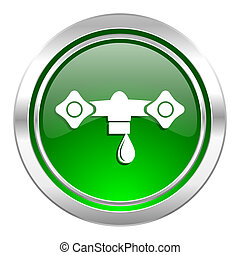 water icon, green button, hydraulics sign