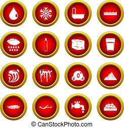 Water icon red circle set