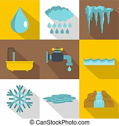 Water icon set, flat style