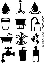 Water Icon Set Isolated on White Background - Vector...