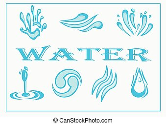 Water Icon Set. Vector Illustration