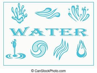 Water Icon Set. Vector Illustration
