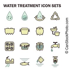 Water icon sets - Water treatment vector icon sets design.