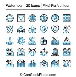 water icon - water line icon, editable stroke, pixel perfect...