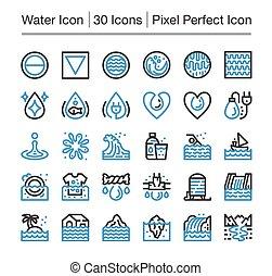 water line icon, editable stroke, pixel perfect icon