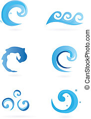 Water Icons – Waves - Different design elements – can be...