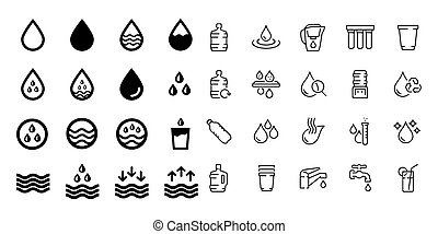 water icons on white background Set vector