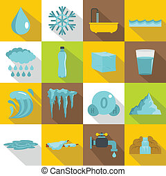 Water icons set, flat style