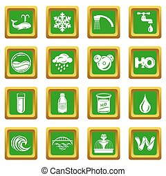 Water icons set green square