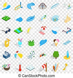 Water icons set, isometric style