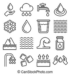 Water Icons Set on White Background. Line Style Vector